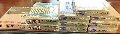 Lot of 10 Sealed  8 Track Blank Tape Cartridges Ampex 8T84 / SUPERTAPE  /SCOTCH
