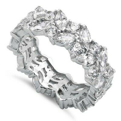 Cluster Marquise & Round 5A CZ Wedding Eternity Sterling Silver Band Ring 7.3mm