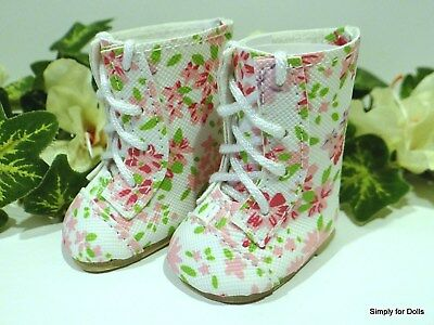 """FLORAL Lace-Up Tall DOLL BOOTS SHOES fits American Girl 14.5"""" WELLIE WISHERS"""