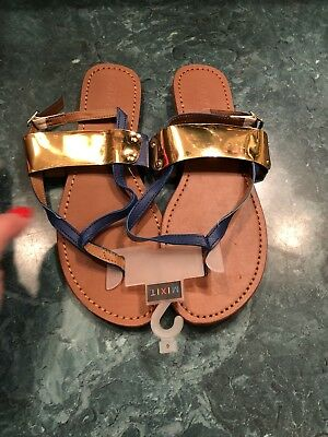 3151409e8 NWT Mix It Mixit Flip Flops Thong Blue Sandals Women s Size 6 Gold On Top  Shoes