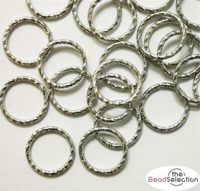 25 LARGE JUMP RINGS FANCY TEXTURED CONNECTORS LINKS 15mm