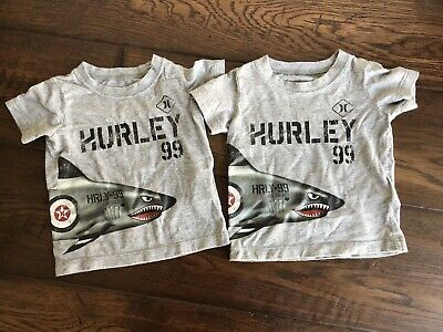 Grey Toddler Hurley Brand Surf T-shirt Shark Size 12 M- Twins- Lot of 2