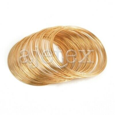 0.6mm Golden Steel Memory Wire 100 Loops For DIY Bracelet Making Cuff Bangle