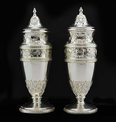 Pair Of Antique Barbour Silver Company Sterling Repousse Salt & Pepper Shakers