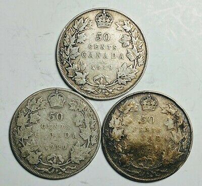 Canada 1919 1920 1929 Silver 50 Fifty Cents 3 Different Coin Lot
