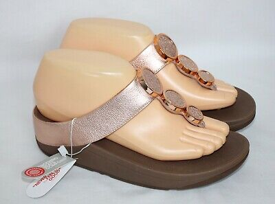 28e5c906981 NEW Womens FITFLOP FIT FLOP Sz 6 Halo Rose Gold Pink Sandals Flip Flops 142-