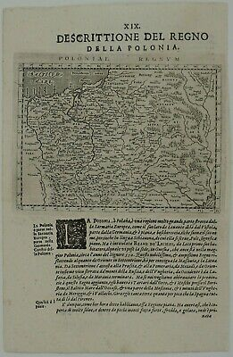 Poland 1598 Original Antique Map Lithuania Belarus Baltics Russia Ukraine Magini