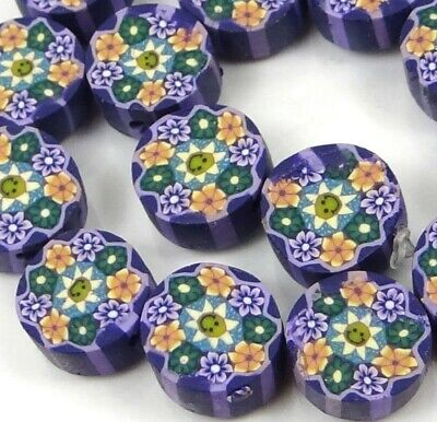 10mm Lavender Blossom Flower Polymer fimo Clay Disc Beads (16)