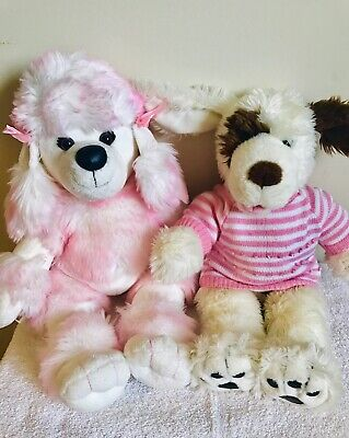 Build-a-Bear Workshop Plush Stuffed Dogs, Lot Of 2, Pink Poodle, White Brown Dog