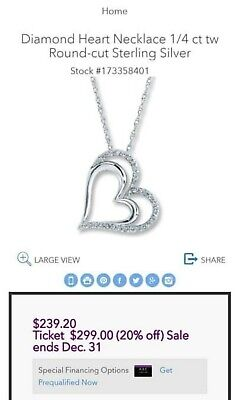 bae41d714 BEAUTIFUL Kay Jewelers Sterling Silver 2 Heart Shaped 1/4 ct Diamond  Necklace