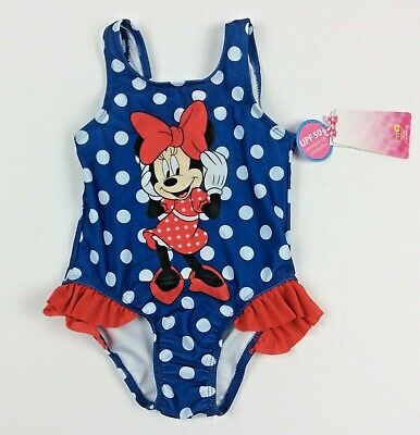 86a2263038cef Disney Minnie Mouse 2T Navy Blue & Red Polka Dot One Piece Swimsuit UPF 50+