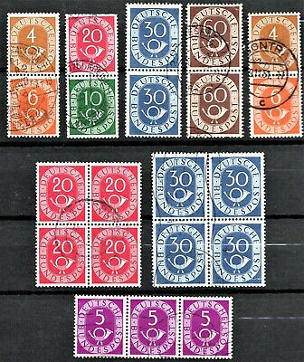 Germany- 1950 Posthorns - Booklet + Joined Pairs + Blocks - Used Nh  👇