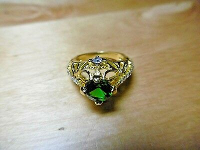 Brand New Boxed Regal Look Sparkling Simulated Emerald Ring L 1/2