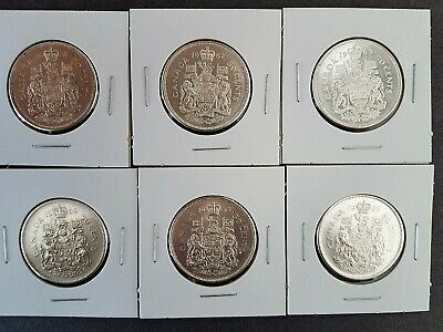 Lot of 6 x 50 Cents - Silver - Run 1961-1966