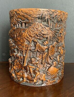 Antique Chinese Carved Figures Bamboo Brush Pot
