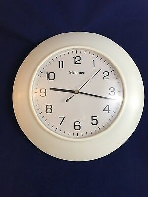 "Stunning Vintage Retro Large Metamec 1970s Wall Clock White. Battery. 13"" VGC"