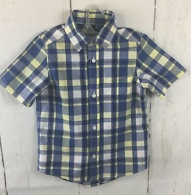 The Childrens Place Boy's Plaid Button Down Shirt Short Sleeve Size Small 5/6