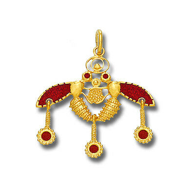 Minoan Cretan Malia Bees ~ 18K Solid Yellow Gold and Red Enamel Pendant - M