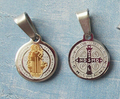 SMALL St BENEDICT/San Benito Medal Protection Exorcism~Two Tone~Stainless Steel
