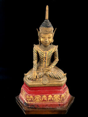 Antique Burmese seated Budda paper-mâché gilt and red lacquer.   A302