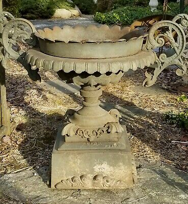 Antique Monumental Cast Iron Garden Urn Pedestal c.1880's
