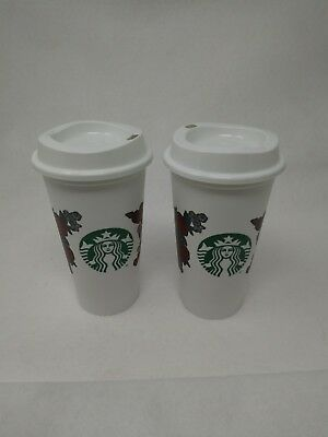 2 STARBUCKS VALENTINE Love Hearts & Roses 2019 Reusable