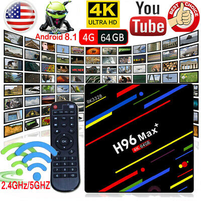 4GB+64GB Android 8.1 H96 MAX Plus+ Smart TV Box RK3328 Quad Core 4K H.265 Wi-Fi