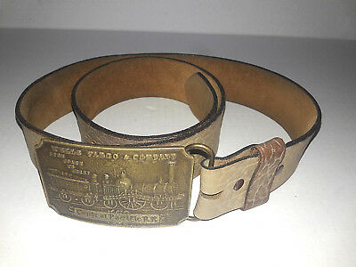 Vintage Wells Fargo Central Pacific Railroad RR Brass Buckle & Mens Leather Belt