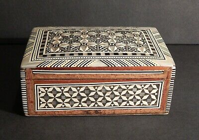 "Egyptian Treasure Inlaid Mother of Pearl Desk Wood Pen Holder Box 7/"" #229"