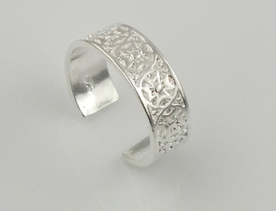 Silver Vintage Toe Ring Adjustable Band Womens Foot Beach Body Jewellery open uk