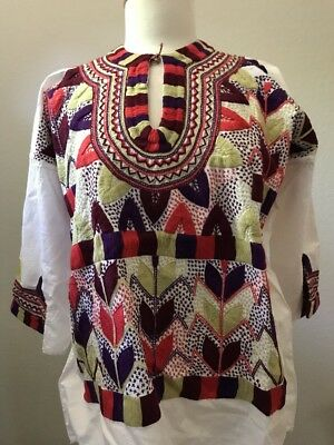 AUTH Mayan Mexican Blouse Top Shirt Embroidered Flowers From Chiapas MEXICO