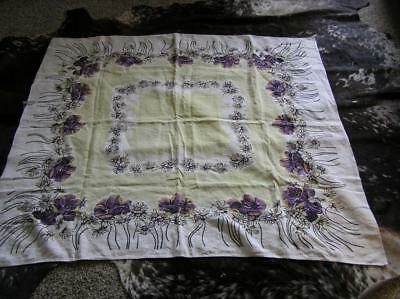 Vintage 1940's Purple Flowers Yellow Cotton Tablecloth French Country 50x50 Sq