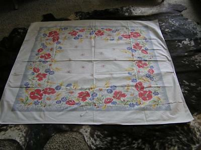 Vintage 1940's Spring Poppy Flowers Cotton Tablecloth French Country 48x52 Sq