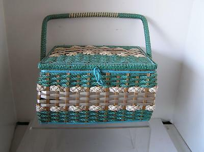 "Vintage Sewing Basket Blue Wicker Made exclusively for Singer 11"" x 9.5"" x 6"""