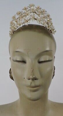 Antique 1920'S Pearl Finish Wax Floral Wedding Headpiece Crown For Dress