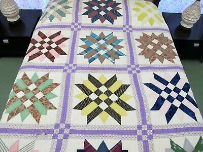 "Vintage Hand Sewn All Cotton PATCHWORK POSY Quilt, Needs TLC; 82"" x 69"""