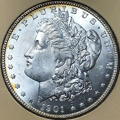 1901-O GEMMY Morgan LIBERTY Silver Dollar $1 NEW ORLEANS UNCIRCULATED free s/h