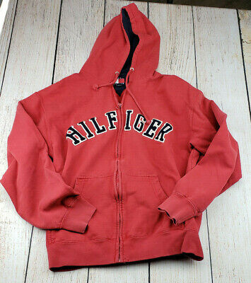 30e1ff11 VIntage 90s Tommy Hilfiger Big Logo Spell Out Full Zip Hoodie Jacket Large  Red