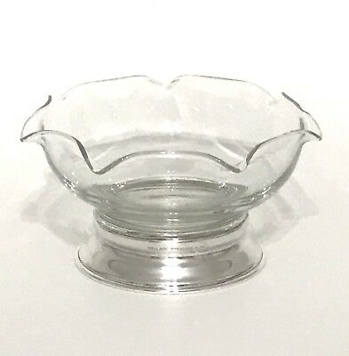 Wallace Sterling Silver And Glass Candy Nut Dish Bowl