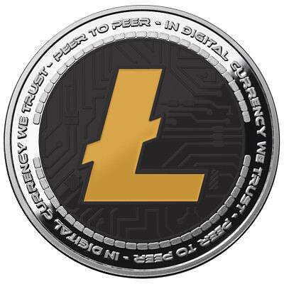 Litecoin Crypto Icon Colorized Coin 1 Oz .999 Silver Bitcoin Anonymous Mint #coa