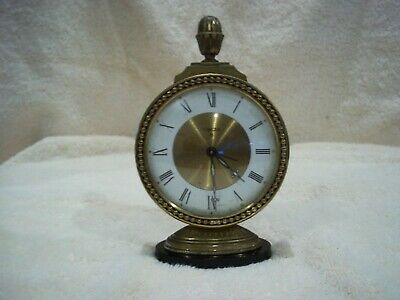 "Delicate Vintage Brass Swiza 8 Day Alarm Clock 3"" Across Face"