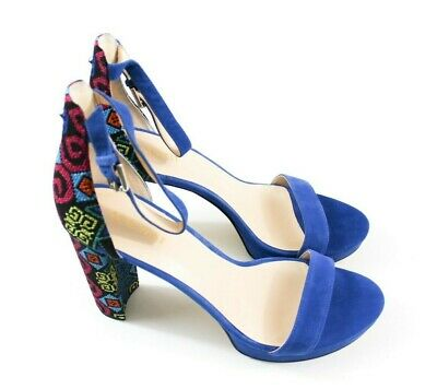 f837bbea6d4 Nine West Dempsey Ankle Strap Dress Sandals Blue Multi Blue Fabric Size 11
