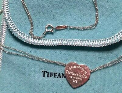 1c1a4cec5 Please Return Tiffany & Co Silver Heart Tag Charm Pendant double chain  necklace