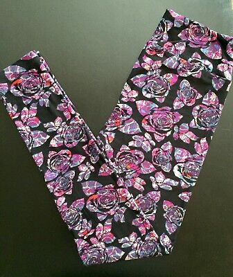 0be7c7d85d2fe NWT OS LuLaRoe Purple MOSAIC Disney ROSES Leggings Unicorn HTF BLACK  Background