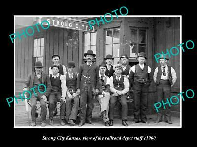 OLD POSTCARD SIZE PHOTO OF STRONG CITY KANSAS THE RAILROAD DEPOT STAFF c1900