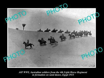 OLD POSTCARD SIZE PHOTO OF AUSTRALIAN ANZAC 4th LIGHT HORSE IN EGYPT c1915