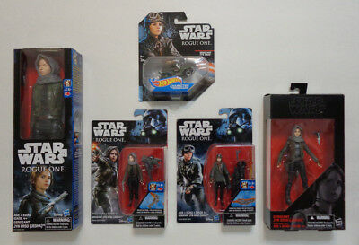 Mixed lot of (5) Star Wars JYN ERSO character items: action figures & hotwheel