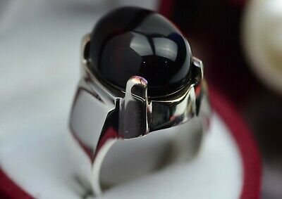 Mens Blood Red Yemeni Aqeeq Ring Sterling Silver 925 Carnelian Artisan Onyx Ring