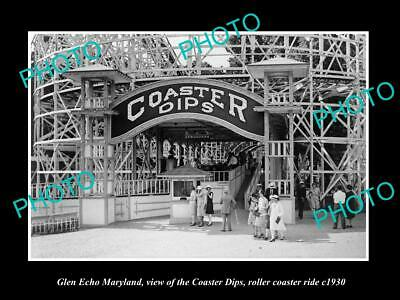 OLD 6 X 4 HISTORIC PHOTO OF GLEN ECHO MARYLAND, THE PARK ROLLER COASTER c1930