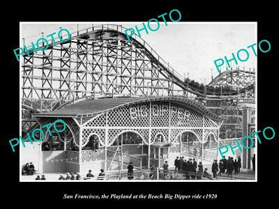 OLD 6 X 4 HISTORIC PHOTO OF SAN FRANCISCO PLAYLAND, THE BIG DIPPER RIDE c1920
